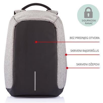 Sigurnosni ranac za laptop i tablet, sivi ruksak