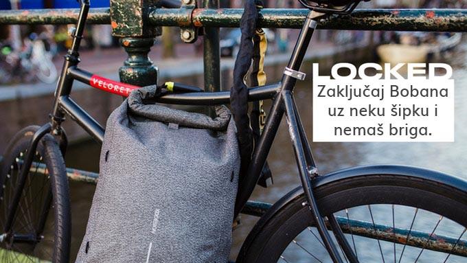 Ranac na zaključavanje, Zaključavanje uz bicikl